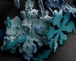Увеличенные под микроскопом снежинки