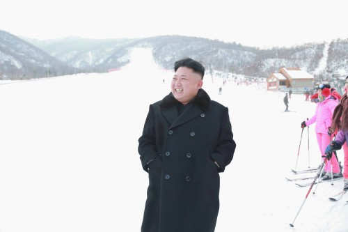 North Korean leader Kim Jong Un visits the newly built ski resort in the Masik Pass region